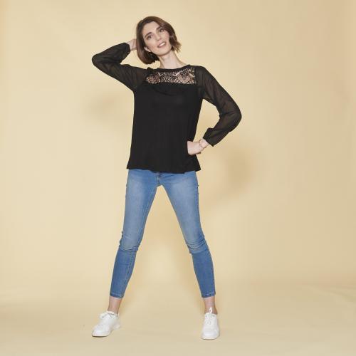 e5ca96a1257 3 SUISSES - Tee-shirt manches longues dos ouvert et drapé dentelle femme -  Noir