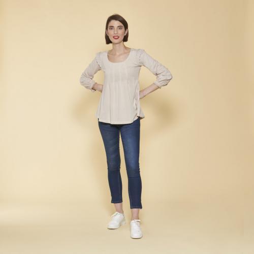 93f5c9dc0 Tee-shirt manches longues élastiquées et dentelle femme - Sable