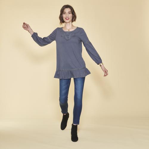 491fe514a7380 3 SUISSES - Tee-shirt manches longues élastiquées guipure et volants femme  - Bleu Nuit