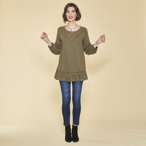 b92e8fb1961 3 SUISSES - Tee-shirt manches longues élastiquées guipure et volants femme  - Kaki -