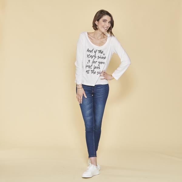 efd80248f Tee-shirt manches longues message imprimé femme - écru