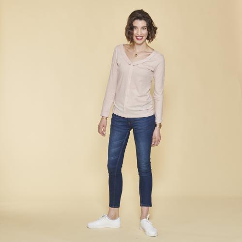 buy online 94d3c 27c9b 3 SUISSES - Tee-shirt pli devant et ouverture dos manches longues femme -  Rose