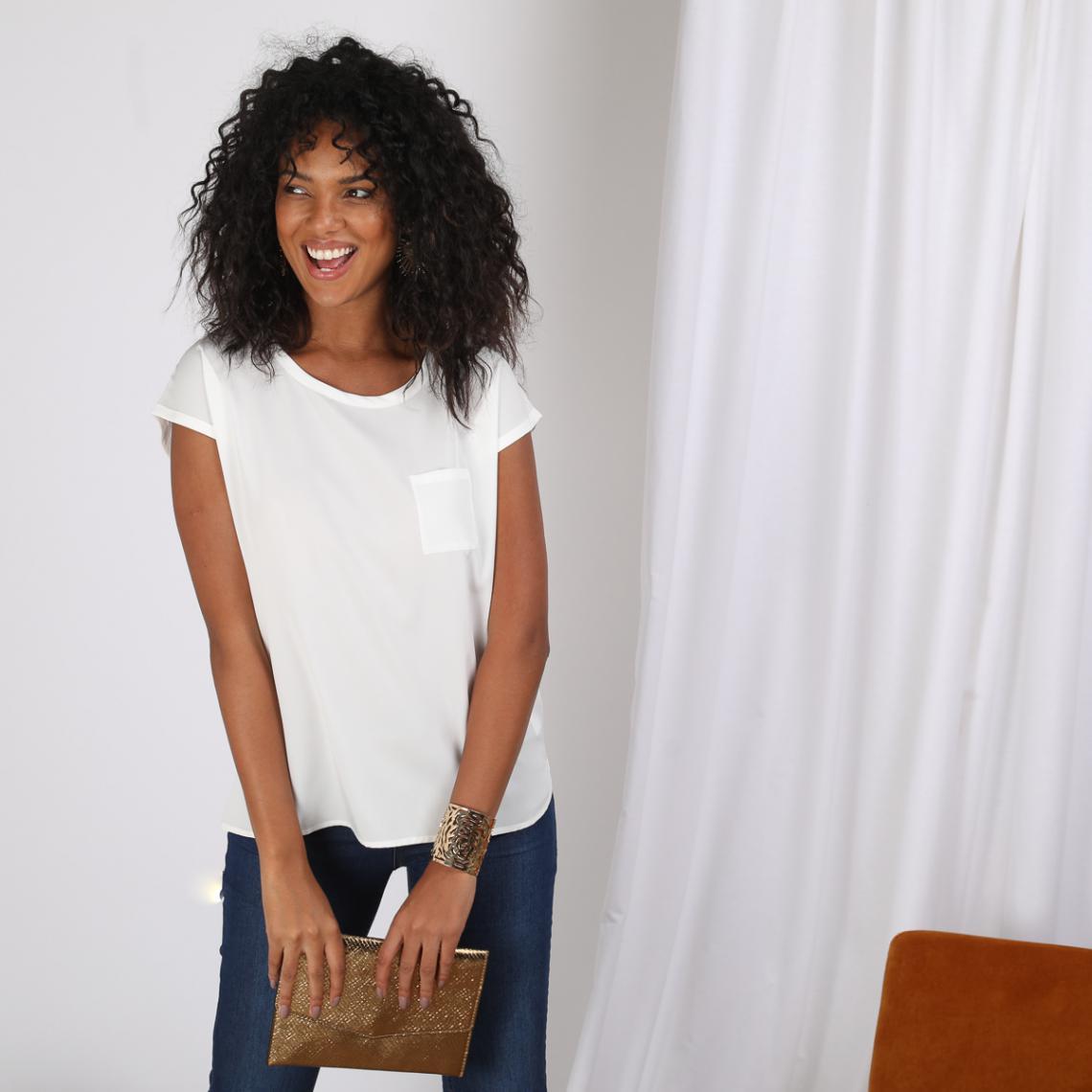 Tee-shirt uni manches courtes poche poitrine - 3S. x Le Vestiaire - Modalova