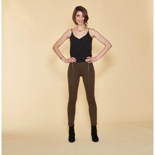 1c40d5df29e9c 3 SUISSES - Tregging large taille élastique zips fantaisie et poches dos  femme - kaki foncé