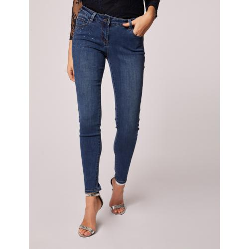 Morgan - Jeans skinny taille basse à strass - Jean