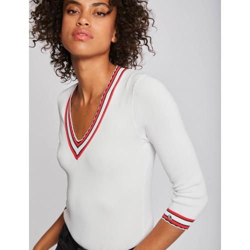 Morgan - Pull manches 3/4 bandes contrastantes - Pull
