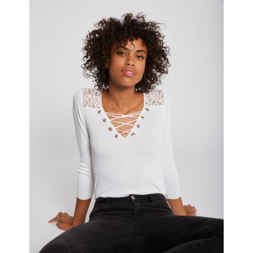 Morgan - Pull manches 3/4 col lacé et dentelle - Pull