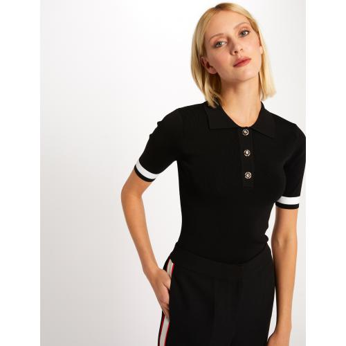 Morgan - Pull manches courtes bandes et boutons - Pull femme