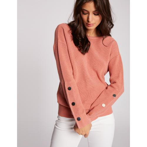 Morgan - Pull manches longues avec boutons - Vetements femme rose