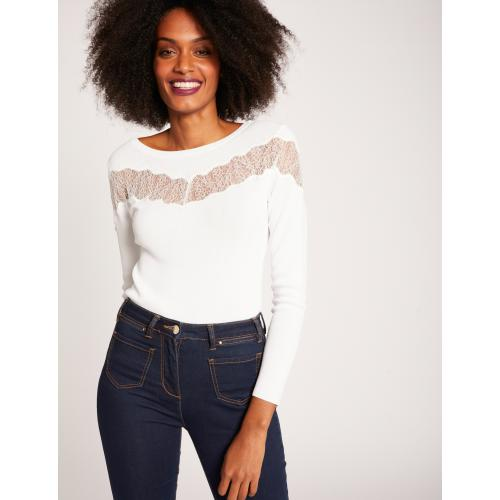 Morgan - Pull manches longues bande de dentelle - Pull