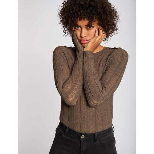 Morgan - Pull manches longues maille ajourée - C 6254397 pulls col rond femme.htm