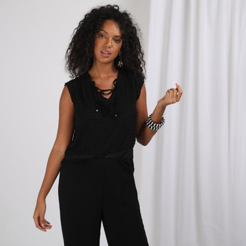 3S. x Basics - Blouse sans manche col V plumetis - Black and white