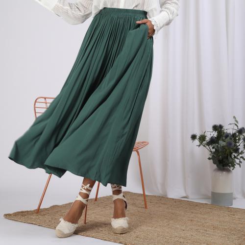 Détails sur Femme Taille Haute Évasé Plissé Robe Longue Gitan Jupe S 5xl Grande