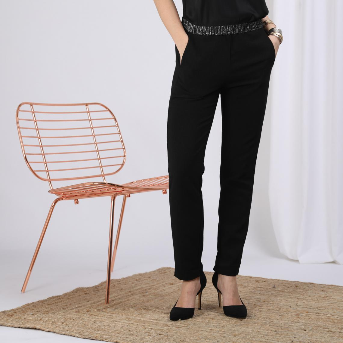 Pantalon fluide noir élastique argent Charly - Pantalon Lary élastique lurex NOIR  44 - Modalova