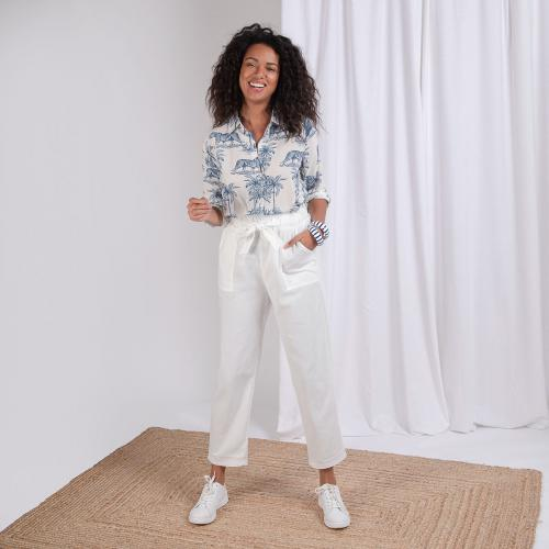 3S. x L'Edition - Pantalon paperbag Alexis - Vetements femme blanc
