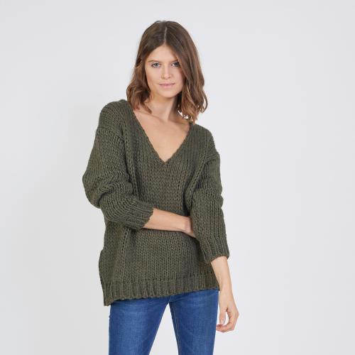 3S. x Stylist - Pull col V grosse maille mélange laine - Vetements femme vert