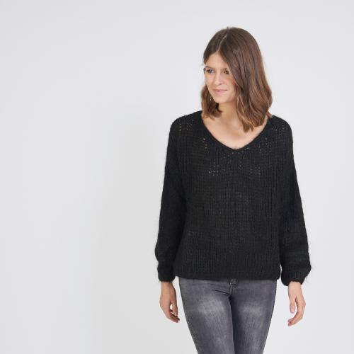 3S. x Stylist - Pull col V mélange mohair lurex - Pull, Gilet