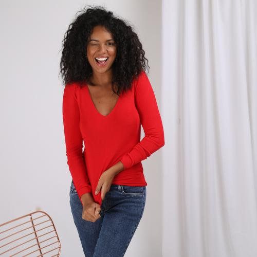 3S. x Stylist - Pull fin col V - C 6748545 boutique rouge