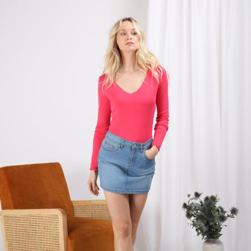 3S. x Stylist - Pull fin col V - Vetements femme rose