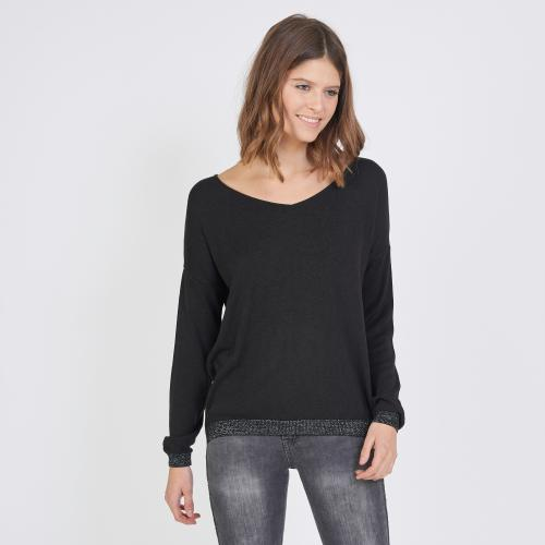 3S. x Le Vestiaire - Pull manches longues col V bas lurex - Pull, Gilet femme