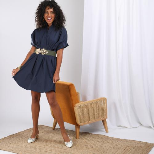 3S. x Le Vestiaire - Robe popeline manches courtes Olivia - Promo Mode femme