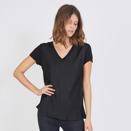 3S. x Stylist - Tee-shirt manches courtes col V mélange soie - T-shirt manches courtes