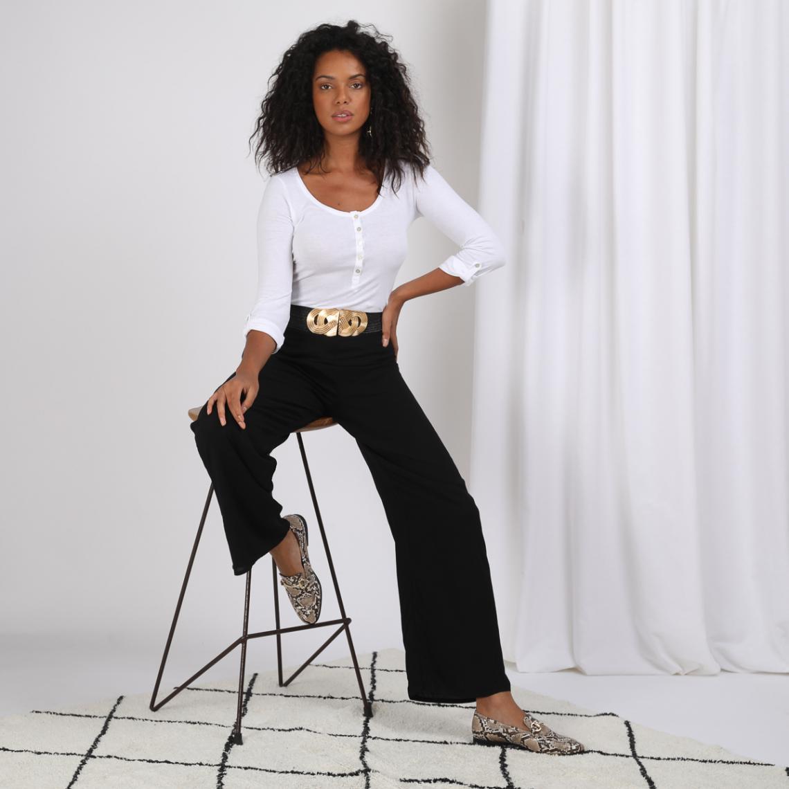 Promo : Tee shirt manches longues boutonné devant blanc Vasco - 3S. x Le Vestiaire - Modalova
