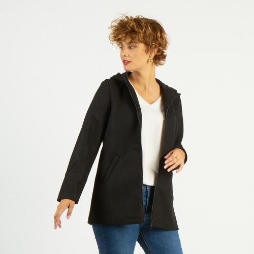 Manteau court à capuche zippé