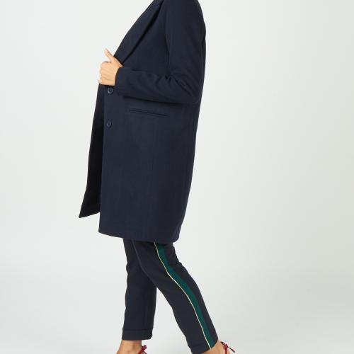 Manteau mi-long col tailleur