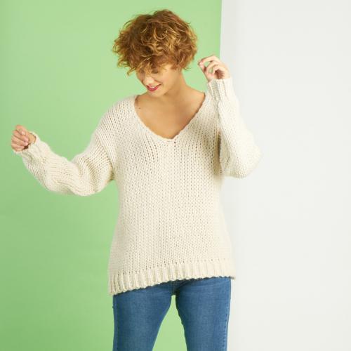 Pull col V grosse maille mélange laine
