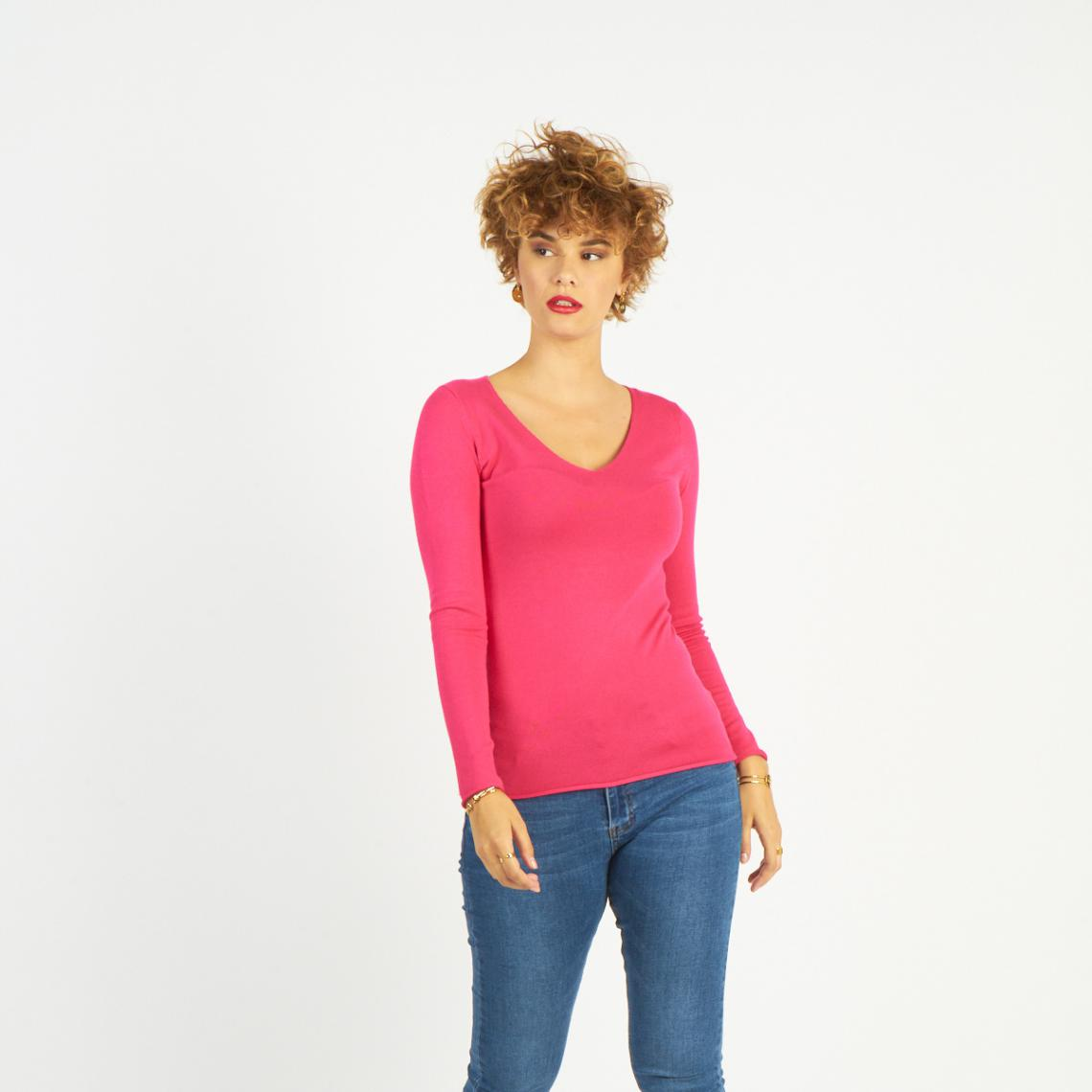 baskets pour pas cher 7bad5 8caaa Pull fin col V - Fushia - James