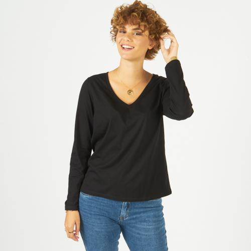 3S. x Basics - Tee-shirt manches longues col rond - T-shirt manches longues