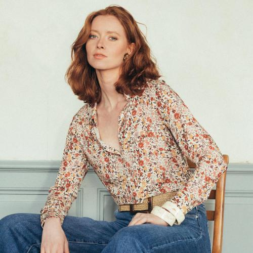 2020 Femme Inspiration Designer Broderie Col haut Maille Chemisier Shirt Top