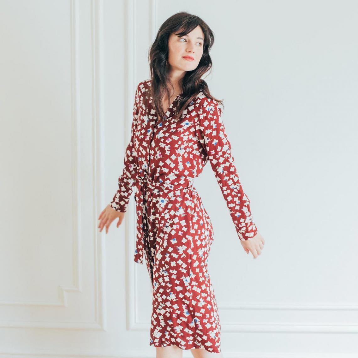 Robe ceinturée col tailleur Jade Réédition - Robe Komara BORDEAUX 36 - Modalova