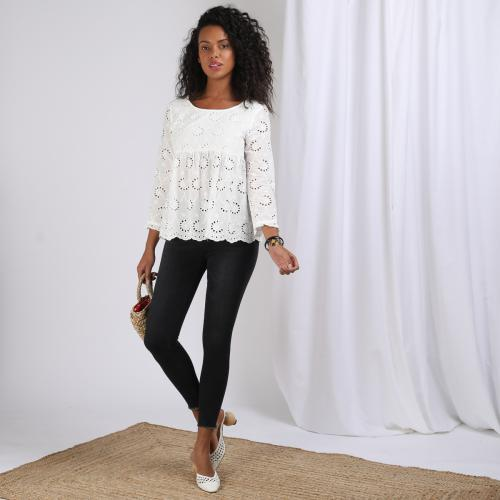 3S. x Stylist - Blouse Broderie anglaise Romy - Black and white