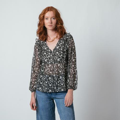 3S. x L'Edition - Blouse manches longues Fleur - Mode made in france