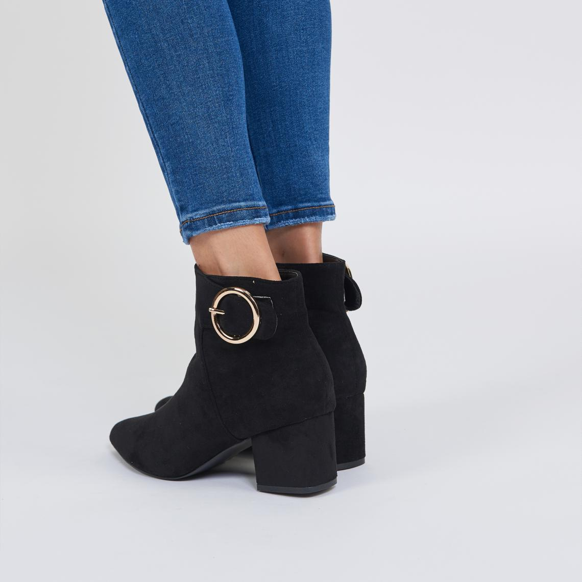 bottines a talon noir avec boucles