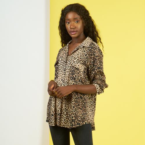 Chemise manches longues leopard
