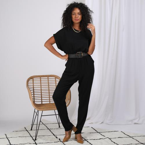 3S. x Stylist - Combinaison pantalon manches courtes ceinturée - Black and white
