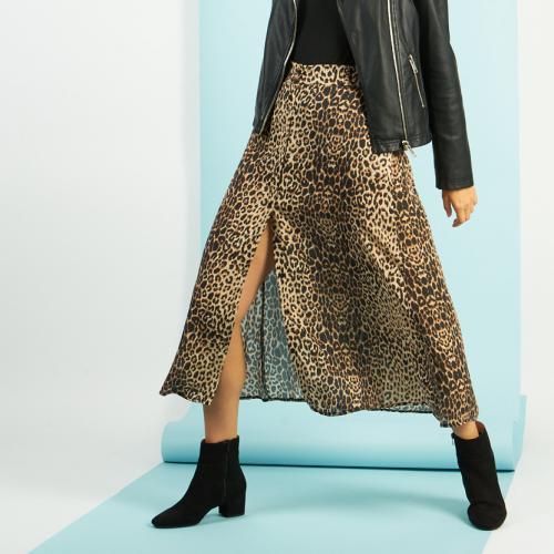 Jupe mi-longue boutonnée devant leopard