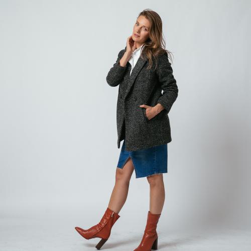 Manteau col tailleur à chevrons