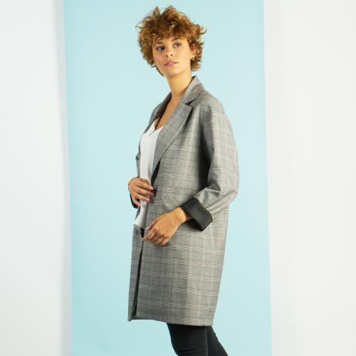 3S. x Stylist - Manteau mi-long à carreaux