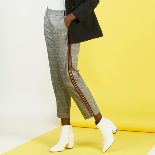 Pantalon à carreaux détail bandes