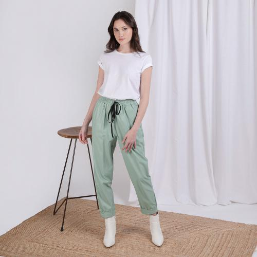 3S. x L'Edition - Pantalon simili cuir vert Ben - Vetements femme made in italie