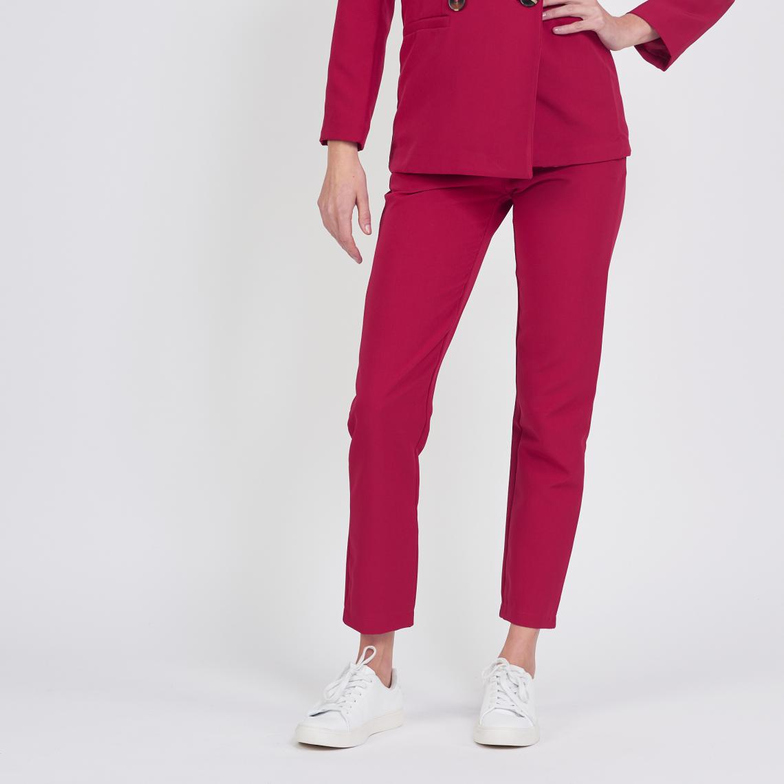 Pantalon tailleur droit rouge Billy   3 SUISSES