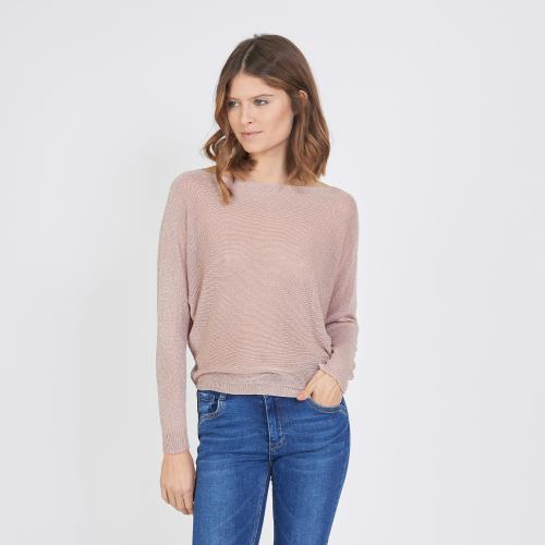 3S. x L'Edition - Pull encolure bateau lurex - Vetements femme made in italie