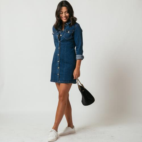3S. x Le Vestiaire - Robe courte en denim Dora - 3 SUISSES Collections