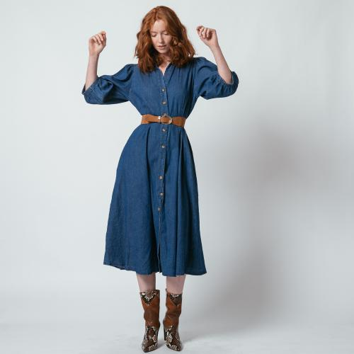 3S. x L'Edition - Robe longue en denim light Sarah - Vêtements femme