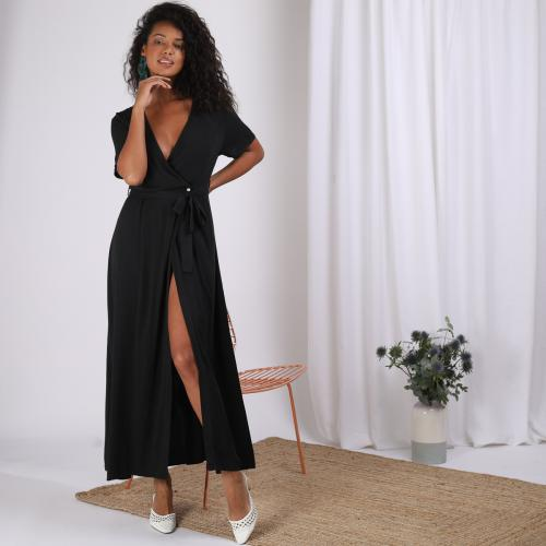 3S. x Stylist - Robe longue fluide portefeuille - Black and white