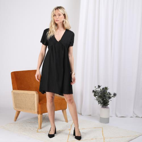 3S. x Stylist - Robe manches courtes col V en lin - Robe courte